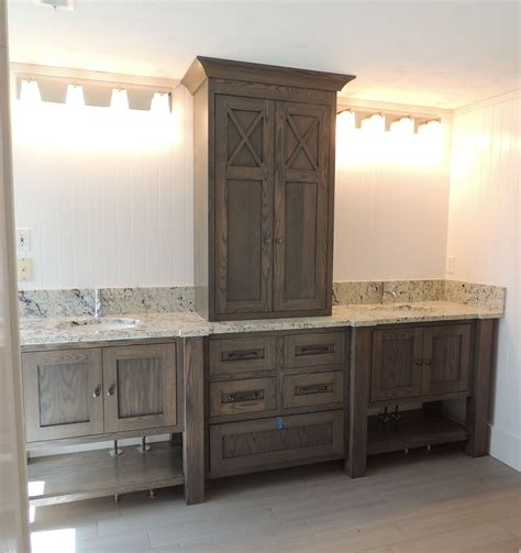 furniture style bathroom vanity in white oak with grey