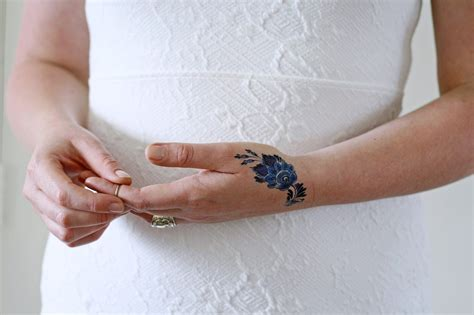 blue henna tattoo small delft blue flower temporary tattoos by