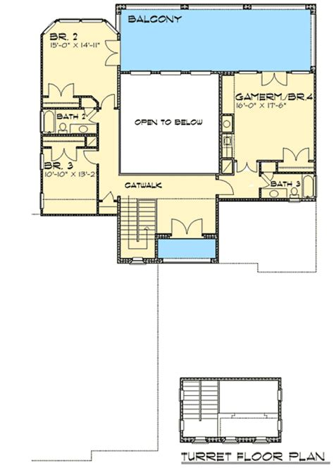 House Plans With Balcony On Second Floor by Courtyard Home With Second Floor Balcony 36810jg