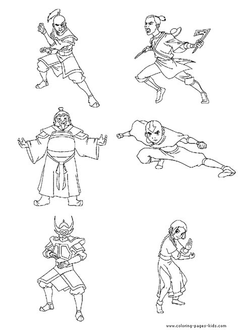 coloring pages avatar characters avatar the last airbender color page coloring pages for