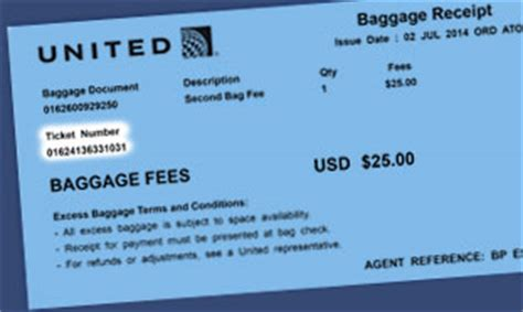 united airlines baggage receipt united luggage fee all you need to know about united