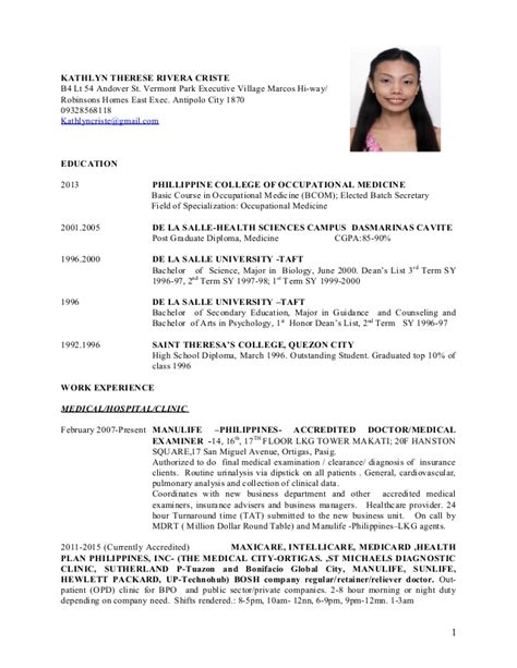Resume Sample For Nurse by Physician Cv Kathlyn Therese Criste