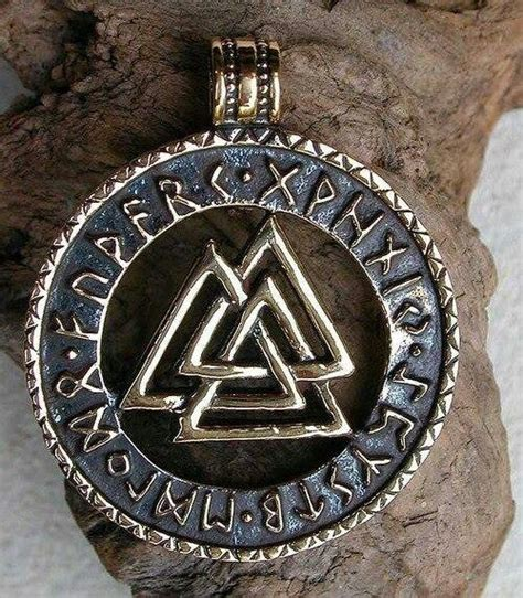 asatru tattoos three pyramids intertwined knot work runes vaulknut