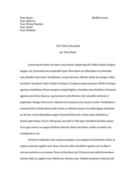 Cover Letter Sample For Submitting Manuscript