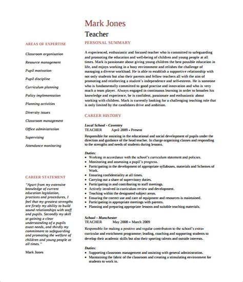 cv templates for teachers free 51 teacher resume templates free sle exle format