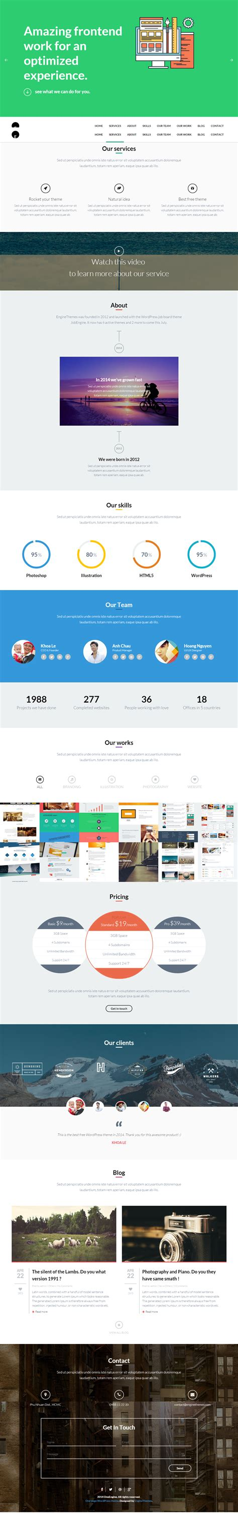 themes wordpress one page free best free one page wp theme for musicians joshua casper