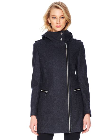 michael michael kors coat michael kors michael faux leather trim wool coat in gray