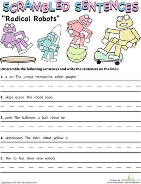 Scrambled Sentences Worksheets by Scrambled Sentences Radical Robots Worksheet