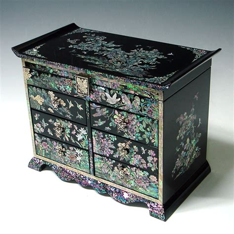Jewelry Chest Of Drawers by Wood Jewelry Chest Of Drawers Inlaid With Of Pearl