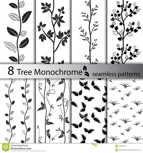 black and white tree pattern set of black and white tree seamless patterns stock vector