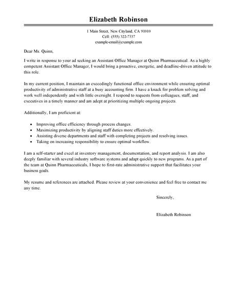 assistant manager cover letter exles administration