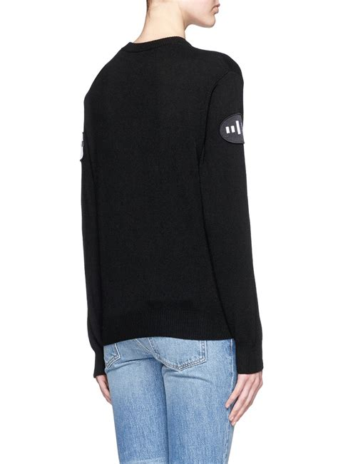 Bercode Sweater wang barcode patch wool blend sweater