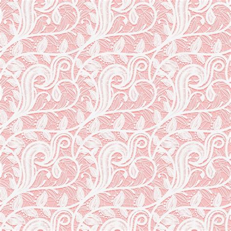 Prewalker Baby Renda Pink seamless white lace fabric on a pink background subtle pattern of twigs and leaves stock