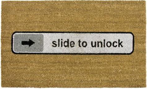 the apple fan doormat the slide to unlock mat