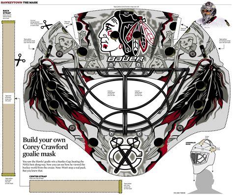 bauer goalie mask template graphic corey s goalie mask chicago tribune
