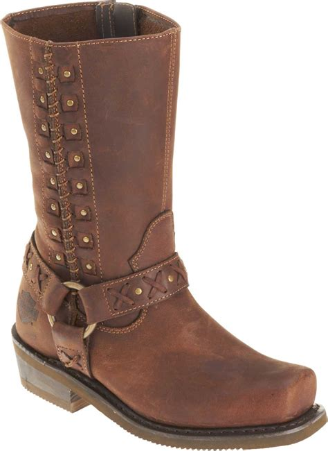 womens brown motorcycle boots harley davidson women s brown leather auburn harness stud