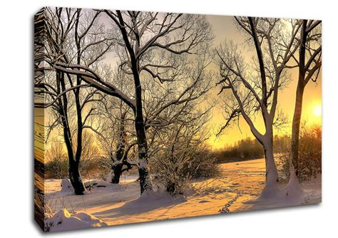 footsteps in snow landscape canvas stretched canvas