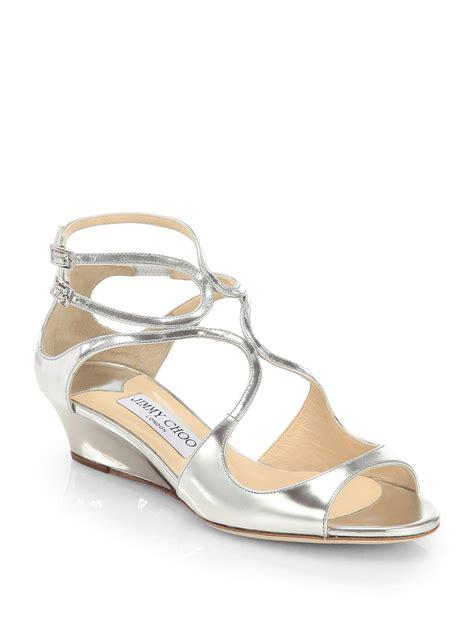 jimmy choo silver sandals jimmy choo demiwedge sandals in silver lyst