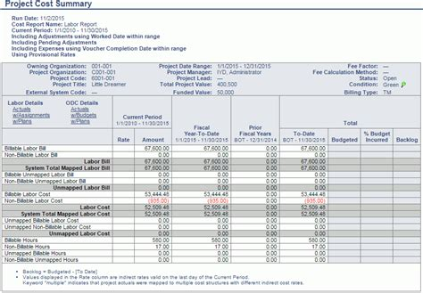 project cost summary jsr report