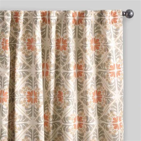cotton tab top curtains natural orange tile cotton concealed tab top curtains set of 2