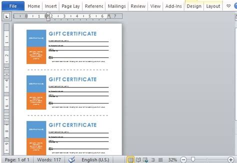 printable gift certificates template for word powerpoint