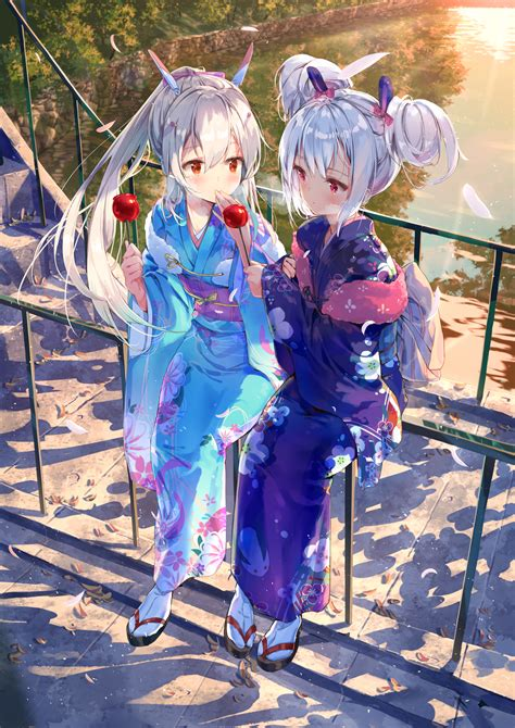 wallpaper gadis anime kimono rambut putih mata merah