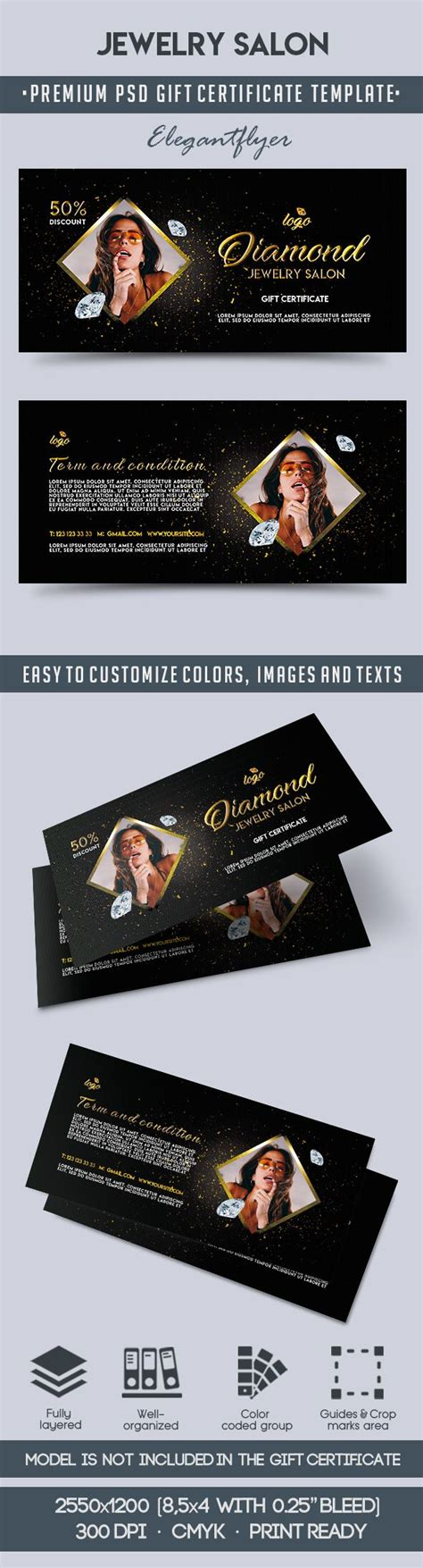 gift card template psd jewelry salon voucher in psd by elegantflyer