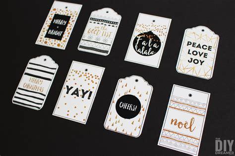 merry christmas printable gift tags black  gold