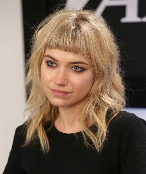 midi length with blunt fringe more pics of imogen poots medium wavy cut with bangs