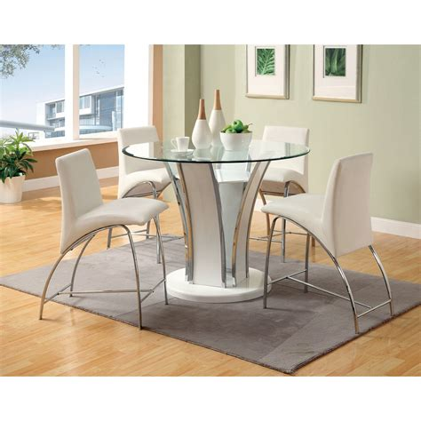 counter height glass dining table furniture of america florencine counter height glass