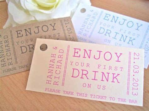 drink token template personalised drink ticket token wedding favour tag