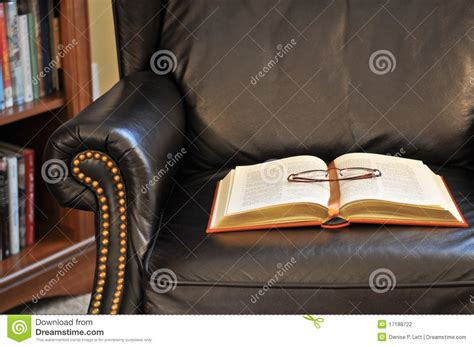 classic reading chair classic book on reading chair stock photography image