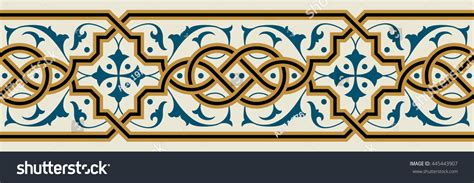 grill design for masjid arabic floral seamless border traditional islamic stock