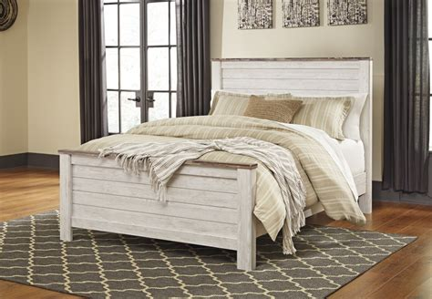 whitewash bedroom furniture willowton whitewash panel rails b267 98 bed