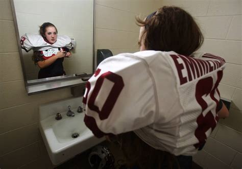 girls bathroom game antioch girl plays guard on varsity football team