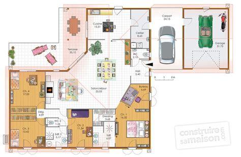 plan maison 4 chambre plain pied grande maison de plain pied d 233 du plan de grande