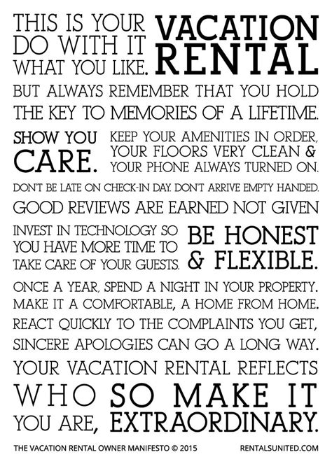 vacation rental owner manifesto | Vacation Rentals