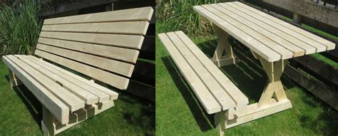 bench becomes picnic table picnic table plans for a weekend project