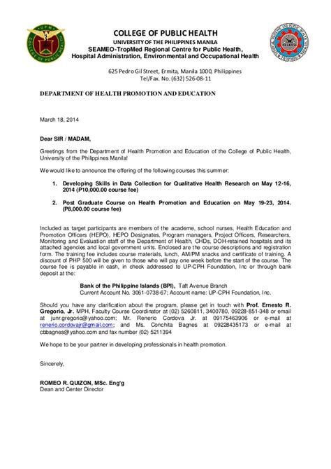 Invitation Letter Sle For Research Invitation Letter For The Course On Qualitative Research Health Pro