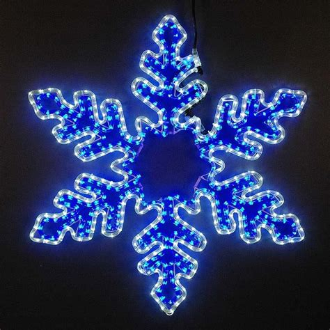 5 led rope light snowflake large blue and cool white