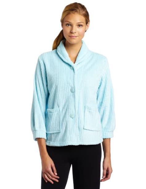 womens bedding casual moments womens bed jacket with shawl collar light aqua large apparel