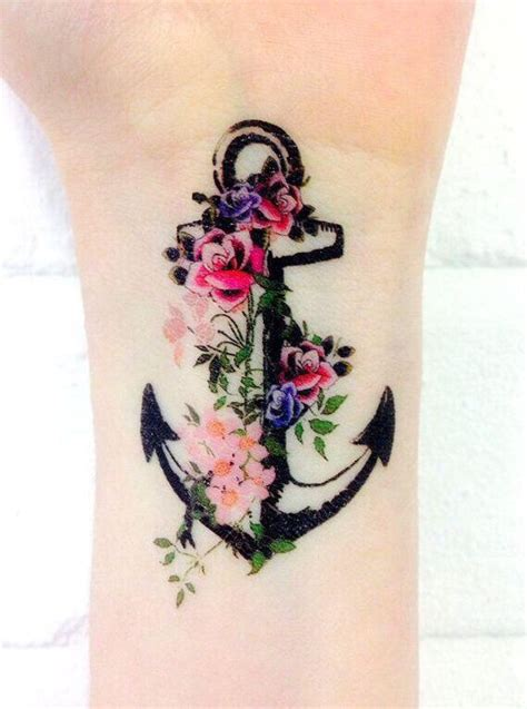 roses and anchor tattoos anchor with flowers tattoos