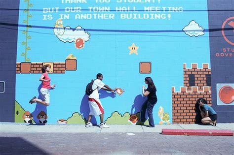 Mario Wall Mural interactive 8bit mario mural