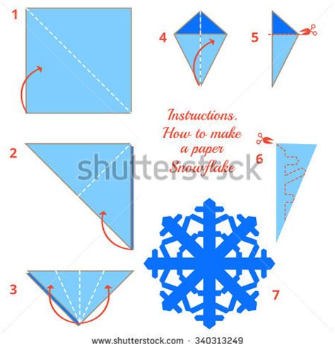 How To Make Paper Snowflakes - visual diy made craft stock vector