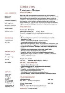 Maintenance manager resume, example, job description