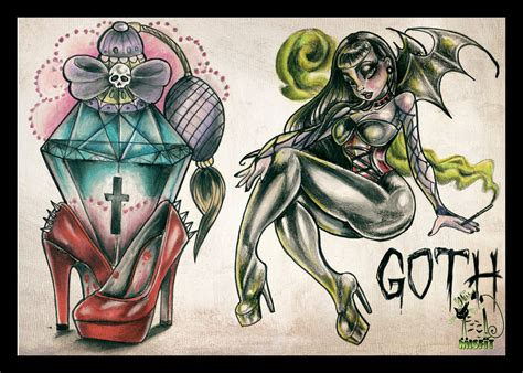 gothic pin up girl tattoo designs if i only were a flash by missmisfit13 on