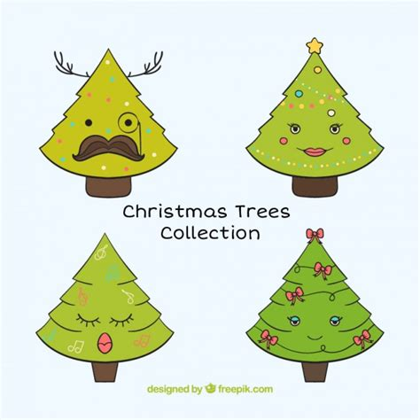 cute christmas trees collection vector free download