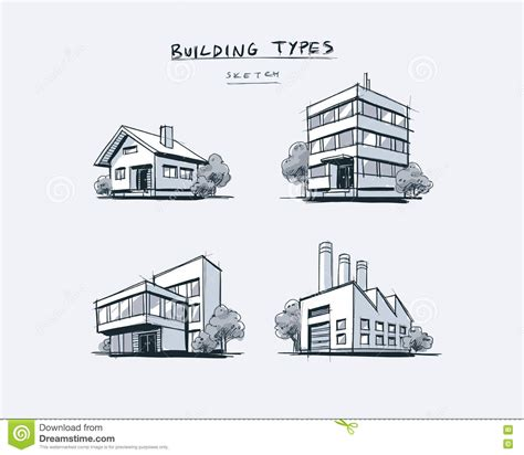 different types of building plans set of four buildings types hand drawn cartoon illustration stock vector image 82354568