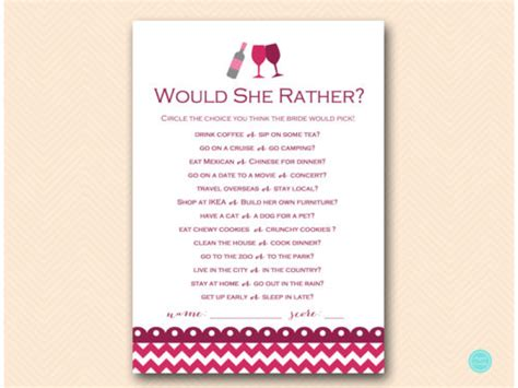 Burgundy Wine Theme Bridal Shower Game Pack Magical Printable Would They Rather Bridal Shower Template