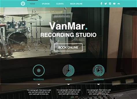 music studio website template wix